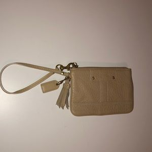 Authentic tan leather Coach wristlet